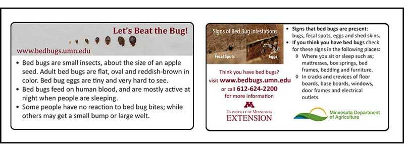 University of Minnesota bed bug id card